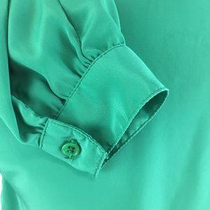 Vintage Tops - Vintage Secretary Blouse Green Petite Impressions